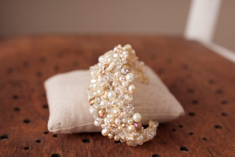 Crystal and pearl bridal cuff bracelet