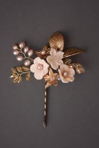 Marcella Gold Pink Hair Pin