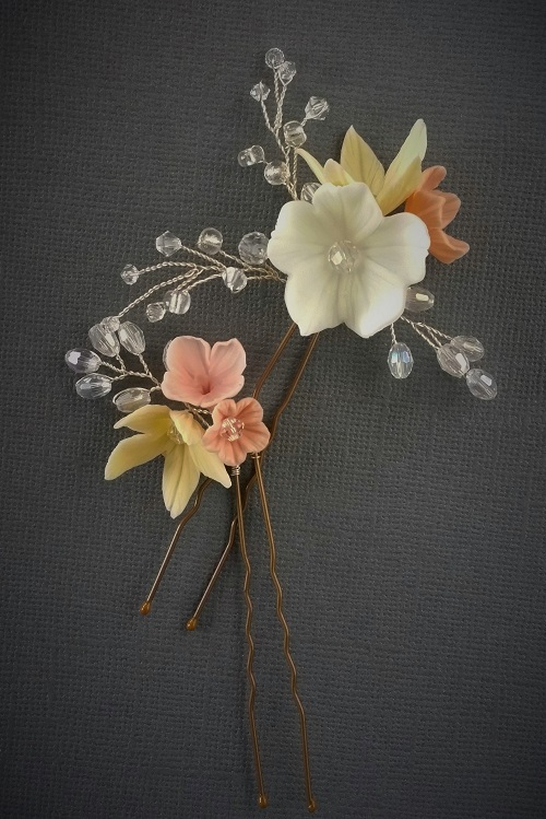 small bridal flower hair pins