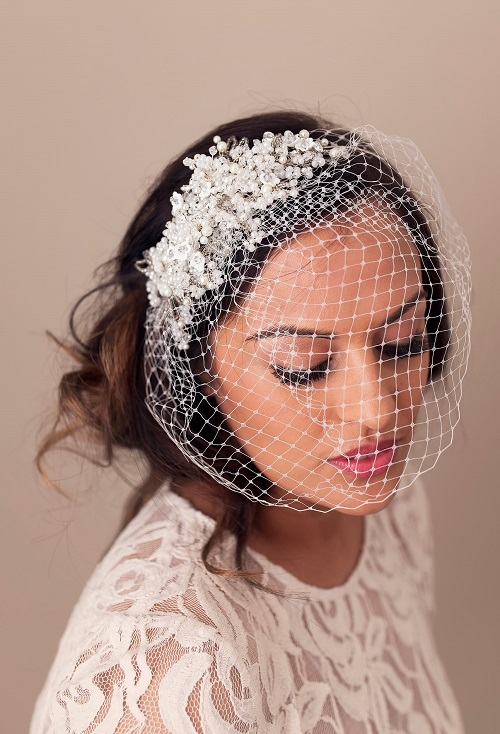 Gypsophilia Birdcage Veil With Removable Bridal Headpiece Mimosa Couture