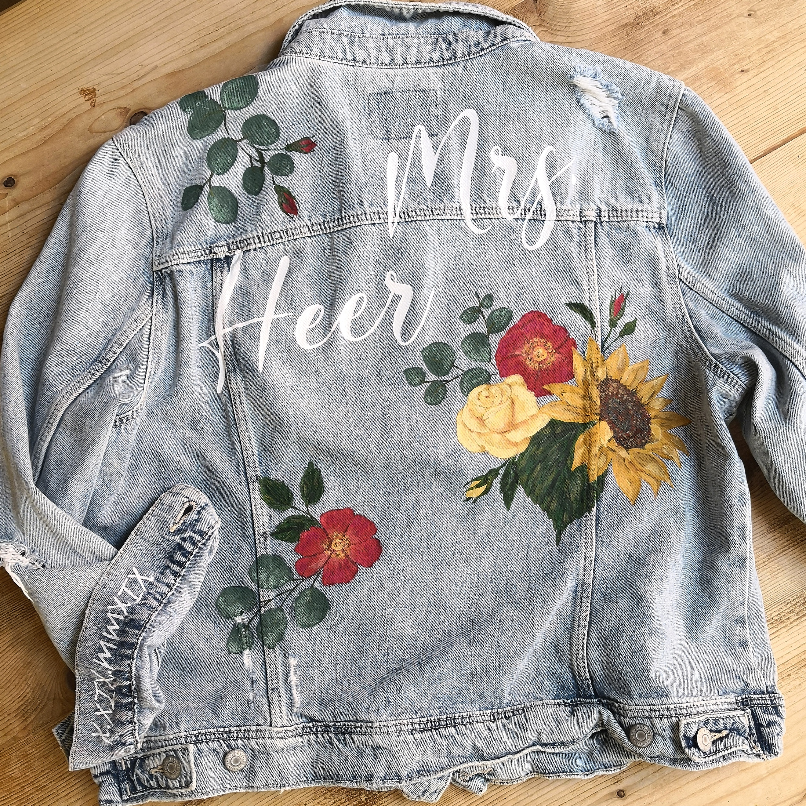 Hand Painted Jeans Floral Design