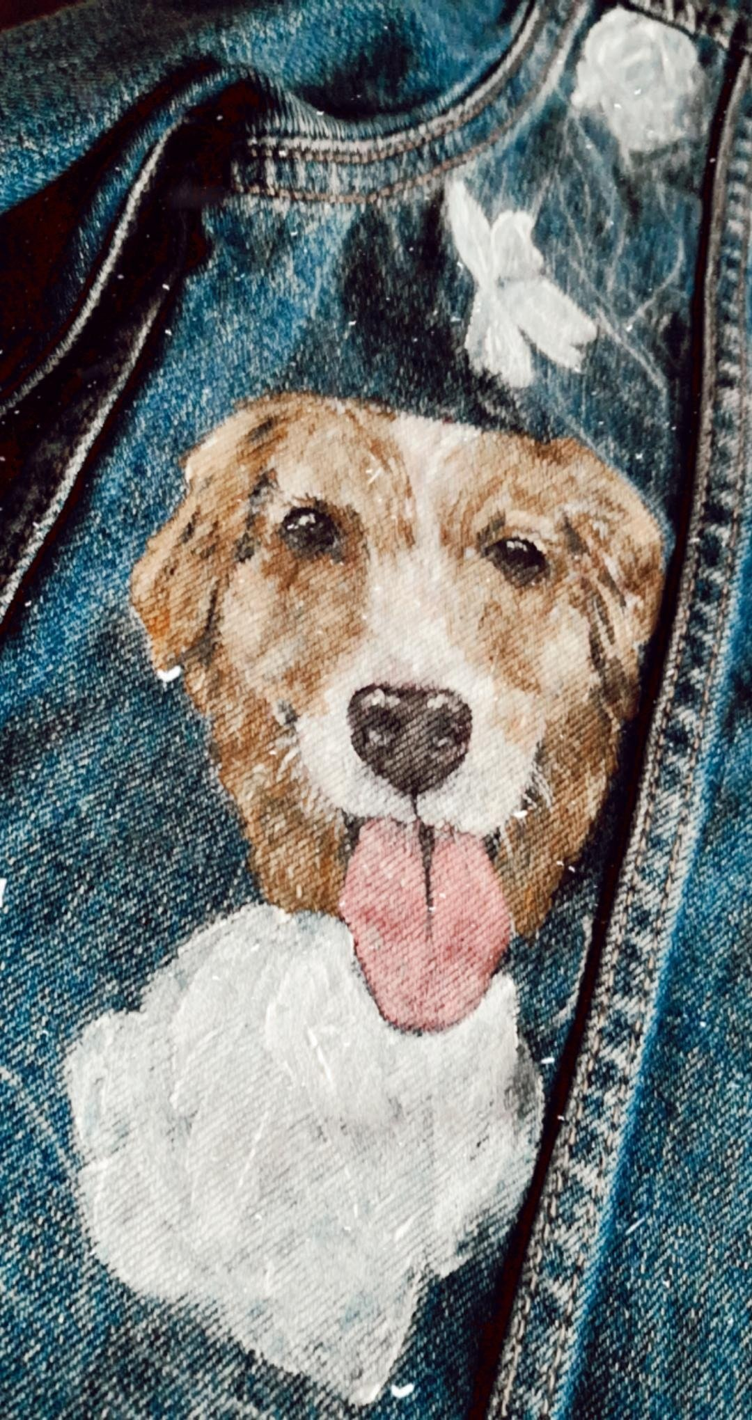Bring Your Pets to the Wedding by Adding them to Your Custom Painted Bridal Jacket Design.