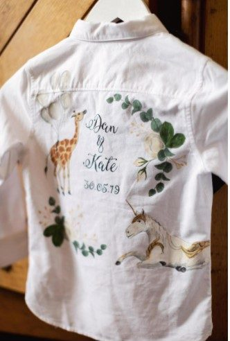 Painted Page Boy Shirt for Kate & Dan's Wedding at Aynhoe Park